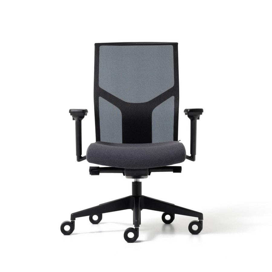 Sedia operativa per ufficio con schienale in rete idfdesign - Schienale sedia ...