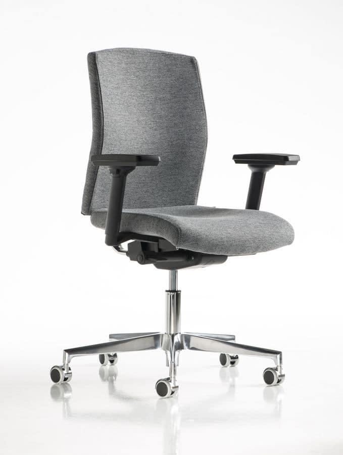 sedia ufficio braccioli regolabili inserti in metallo