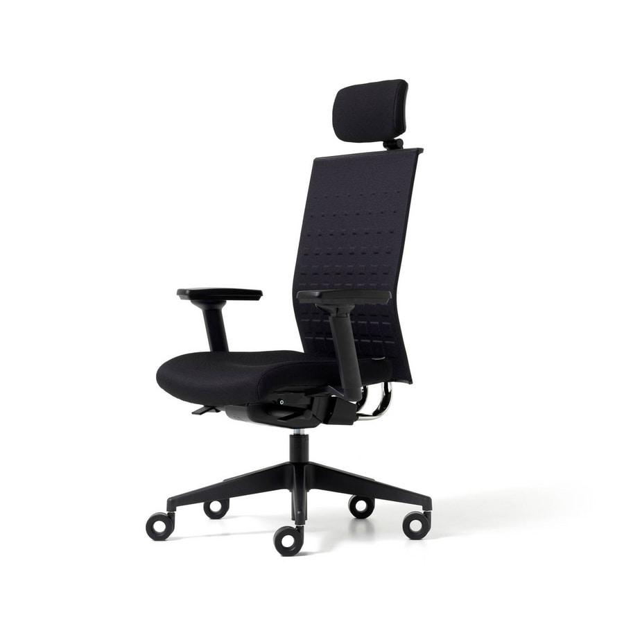 Sedia imbottita per ufficio con rotelle braccioli e for Sedia ufficio rotelle