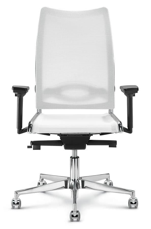 Flash, Sedia per ufficio con schienale alto in rete ergonomica