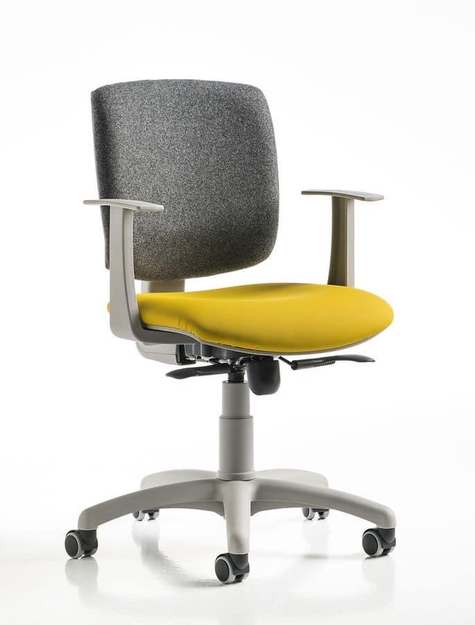 Free, Sedia per ufficio, in vari colori, per zona computer
