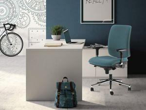 LUL� / LUL� SILVER, Poltroncina ufficio con braccioli regolabili, base in acciaio