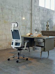 Omnia White Plus 01 PT, Elegante sedia per ufficio con poggiatesta