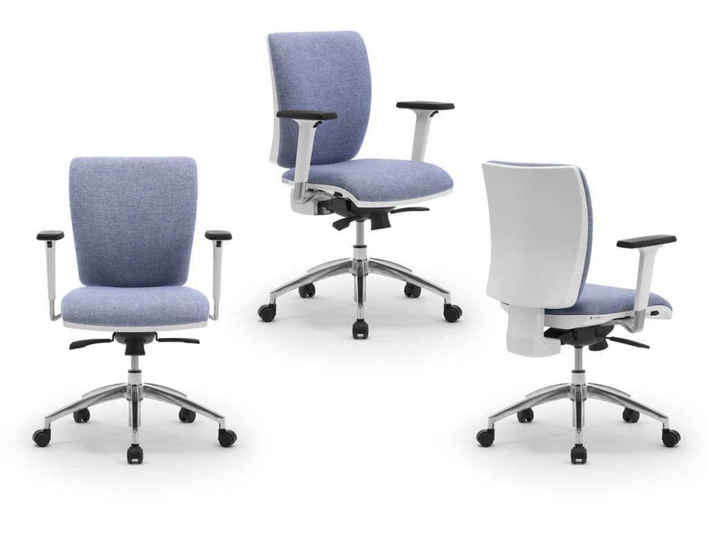 Elegante sedia operativa per ufficio con finitura bianca for Sedie ufficio