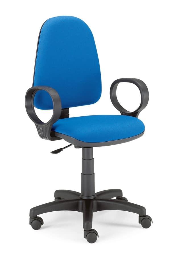 Sedia su ruote per ufficio schienale imbottito idfdesign for Negozi sedie ufficio