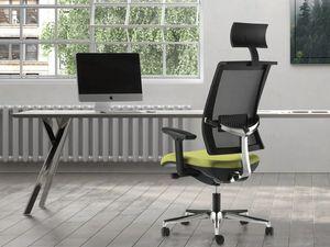 TECNA, Poltroncina ufficio con schienale in rete, poggiatesta, supporto in alluminio