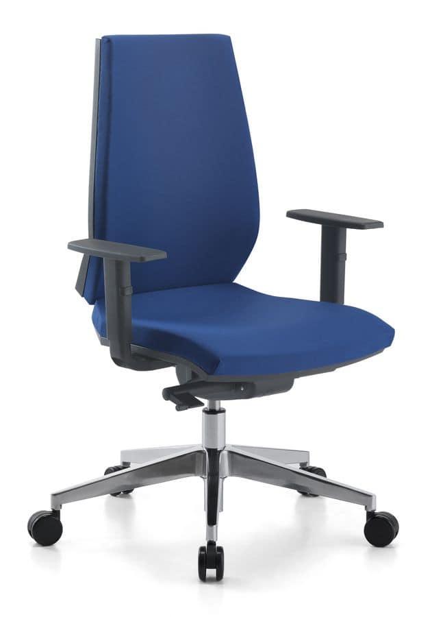 Sedia operativa con base in alluminio per ufficio idfdesign for Fenice design sedie ufficio