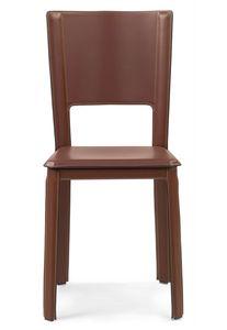 Alex 2.0 sedia 10.0001, Sedia in cuoio, con schienale alto