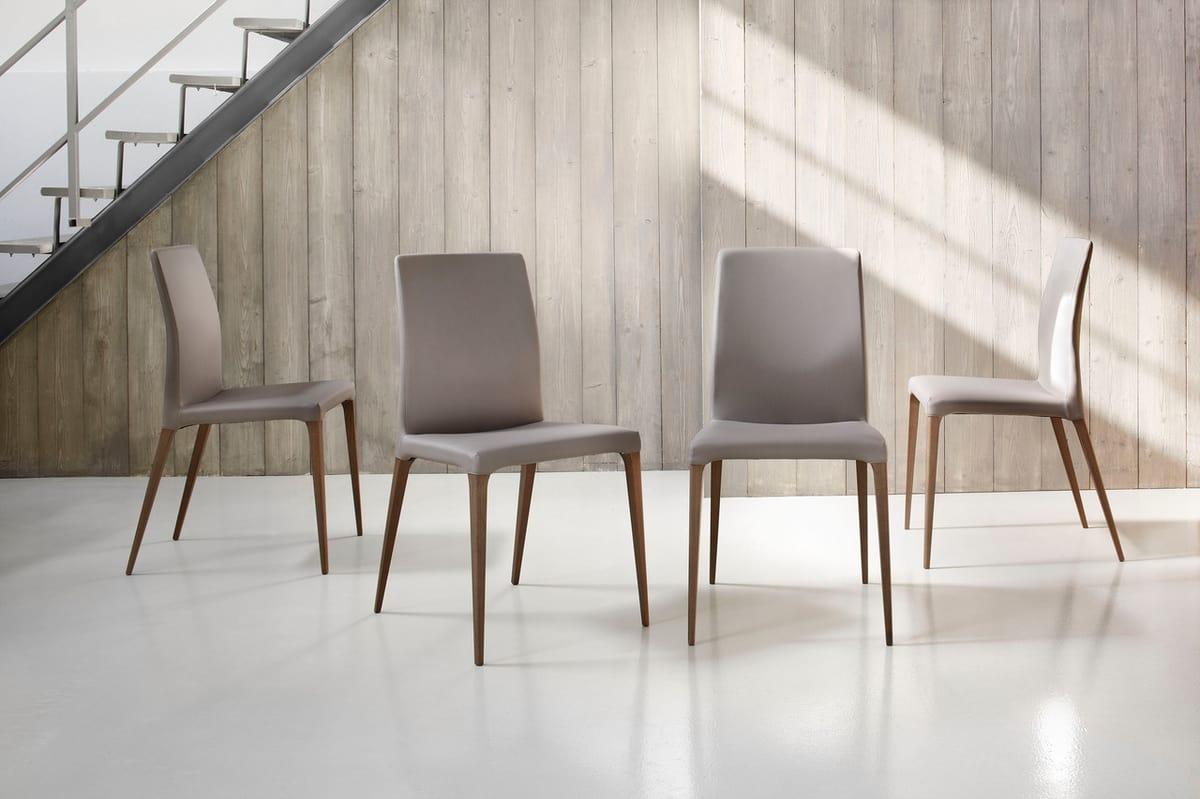 Elegante sedia in noce canaletto rivestita in pelle idfdesign