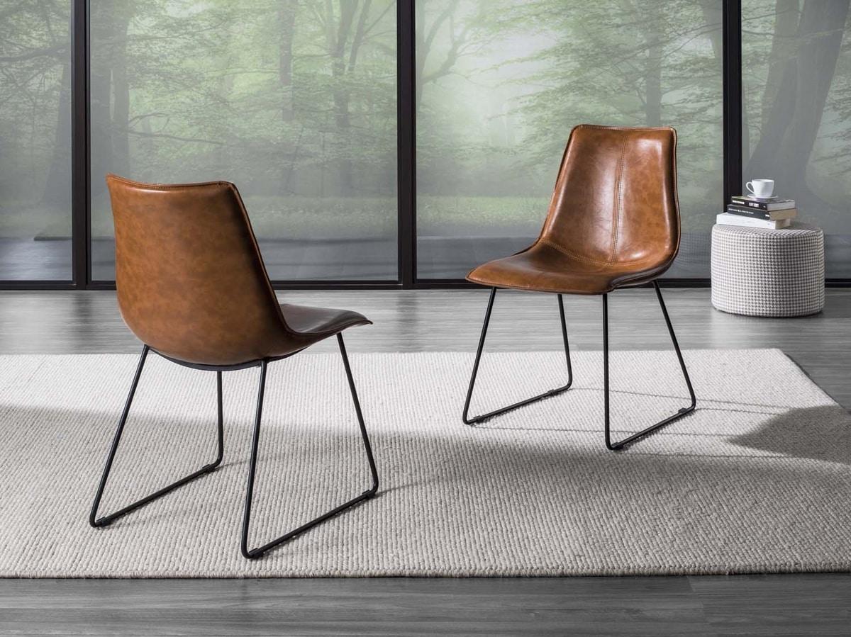 Sedia old style con sedile in pelle | IDFdesign