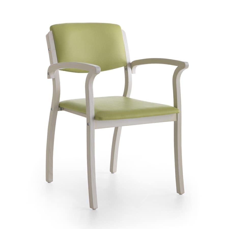 Silver Age 03 P, Sedia stabile con braccioli, robusta, per sala attesa