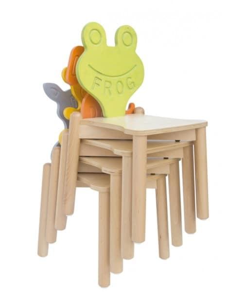 ANIMALANDIA - Frog, Sedia impilabile, in faggio, ideale per cameretta bimbi