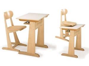 AULA, Sedia e banco, in legno di faggio, per asilo e scuola