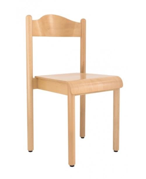 sedia impilabile per scuola e asilo in legno di faggio