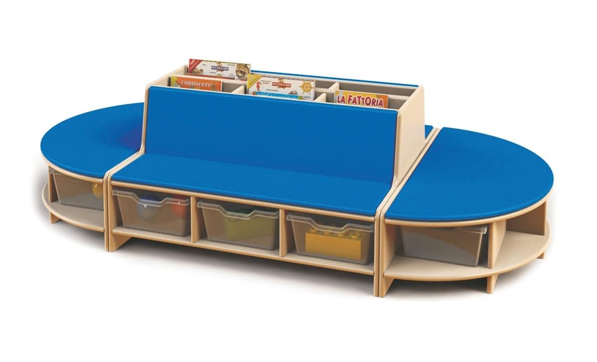 Isola lettura modulare per bambini in legno di faggio for Mobili per bambini di design