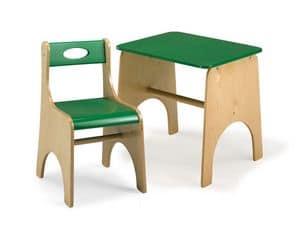 LEILA E LEILA/T, Sedia e tavolo per bambini, in legno multistrato, per area gioco e scuola