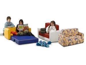 PISOLO, Divano letto per bambini, rivestito in similpelle o stoffa, per asilo