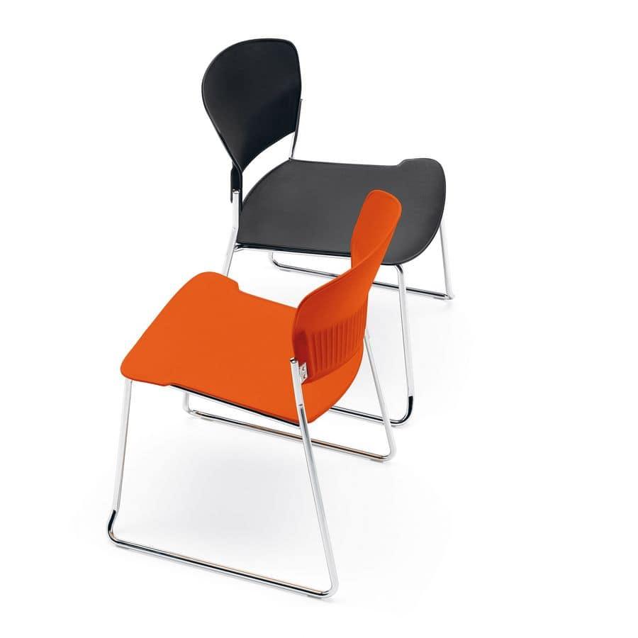 Sedia moderna, seduta in copolimero, per uffici e sale attesa  IDFdesign