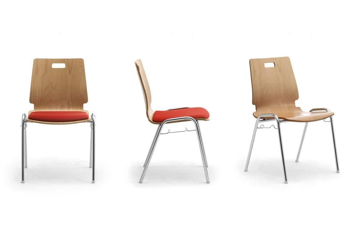Sedia in legno e metallo per sale d'attesa e uffici  IDFdesign