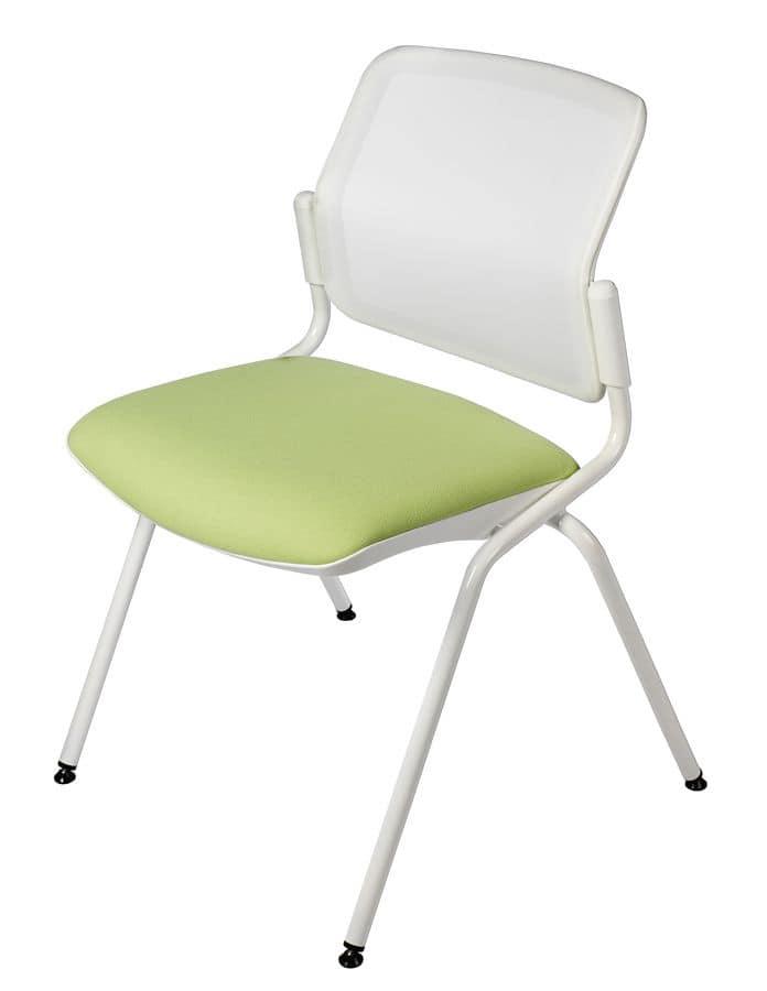 NESTING DELFINET 073, Sedia in metallo, seduta imbottita, per sale riunione