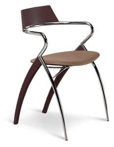 LODI, Sedia in metallo e legno, seduta in ecopelle, con braccioli
