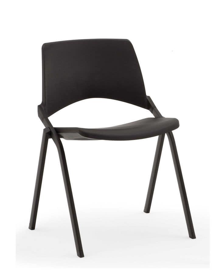 Sedia comoda impilabile in acciaio per sala conferenza for Sedie in acciaio