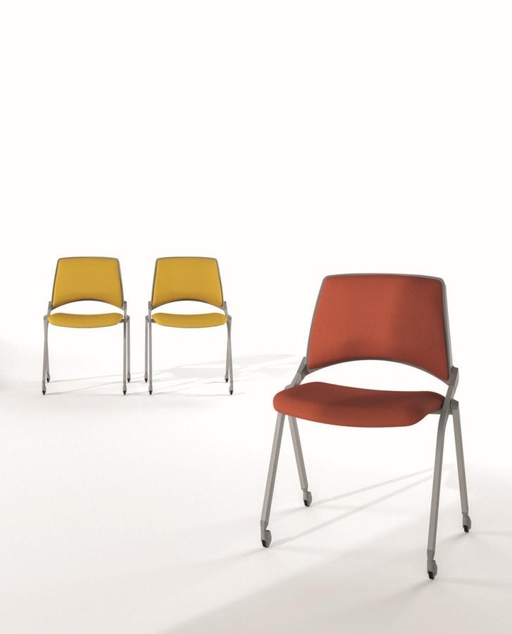 Sedia comoda impilabile in acciaio per sala conferenza for Sedia design comoda