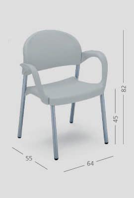 SI 32, Sedia semplice con braccioli, per ristoranti e sale riunione