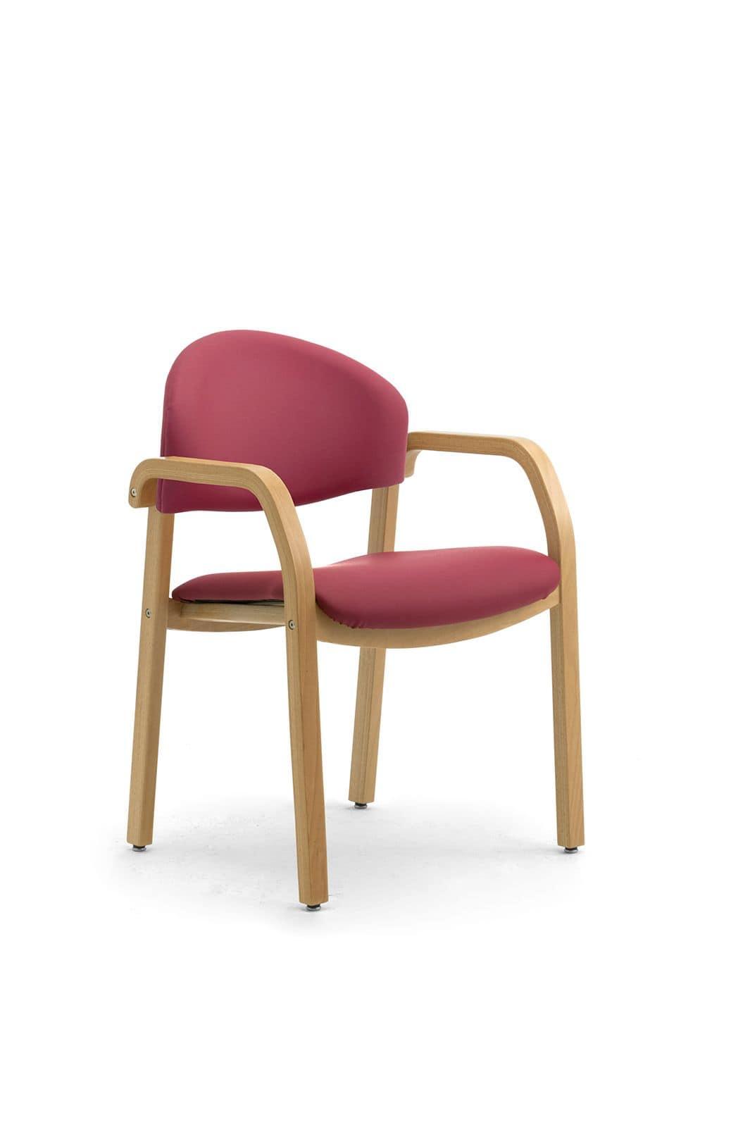 Sedia imbottita in legno per sale d'attesa, ignifuga  IDFdesign