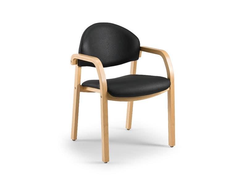 Sedia imbottita in legno per sale d 39 attesa ignifuga for Sedie con braccioli