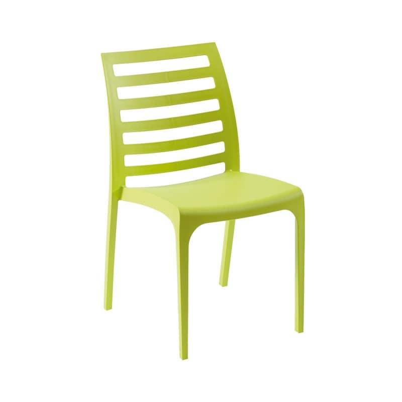 Sedia in plastica schienale con doghe a motivo orrizzontale idfdesign - Sedie per esterno economiche ...