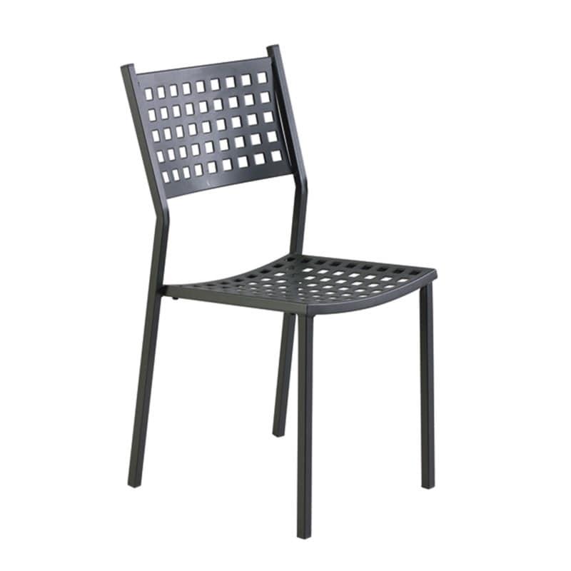 2043, Sedia per esterno in ferro zincato, seduta e schienale forati