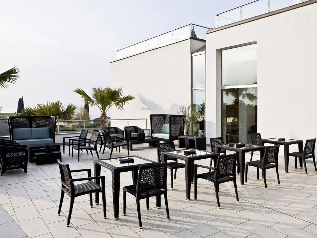 Altea sedia, Sedia con intreccio a motivo floreale, per esterni e bar
