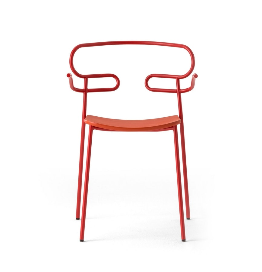 ART. 0048-MET-PU GENOA, Sedia da esterno impilabile