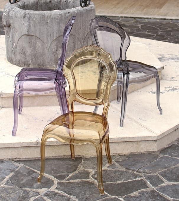 Sedia interamente in policarbonato colorato, per esterno ...