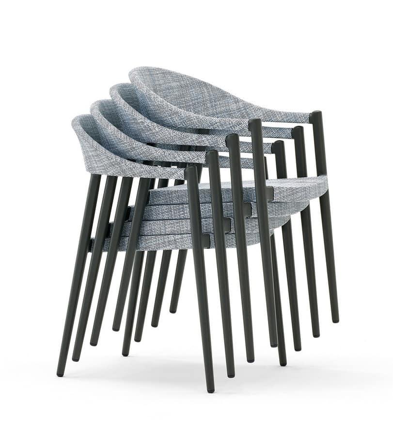 Clever poltroncina, Sedia in alluminio, leggera e pratica, per esterni