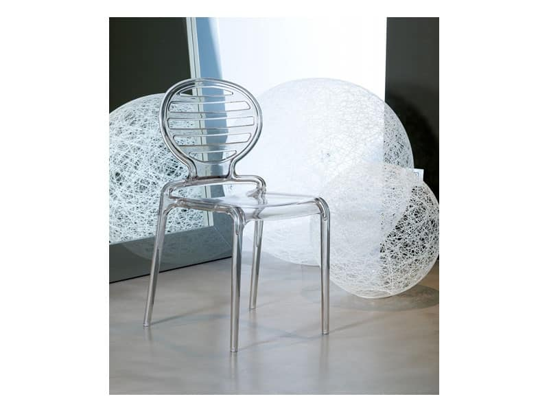 Cokka sedia, Sedia moderna in policarbonato, impilabile, anche per esterno