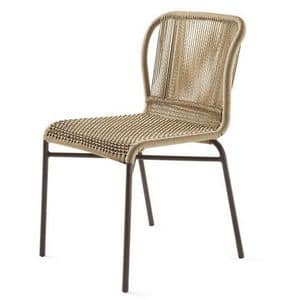 Cricket sedia, Sedia intrecciata, struttura in metallo, da giardino