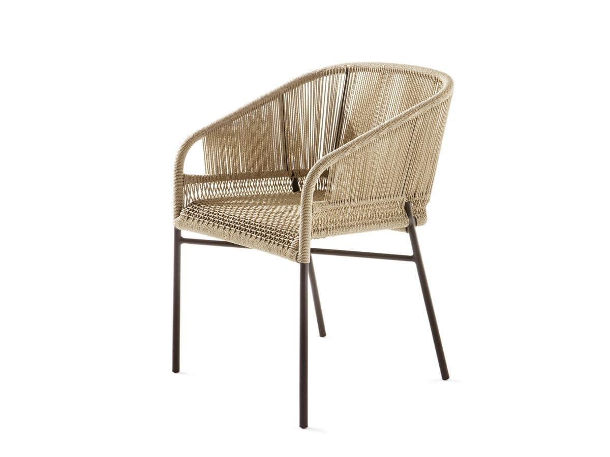 Filo Plastica Per Sedie.Sedia In Metallo E Corda Per Bar All Aperto Idfdesign