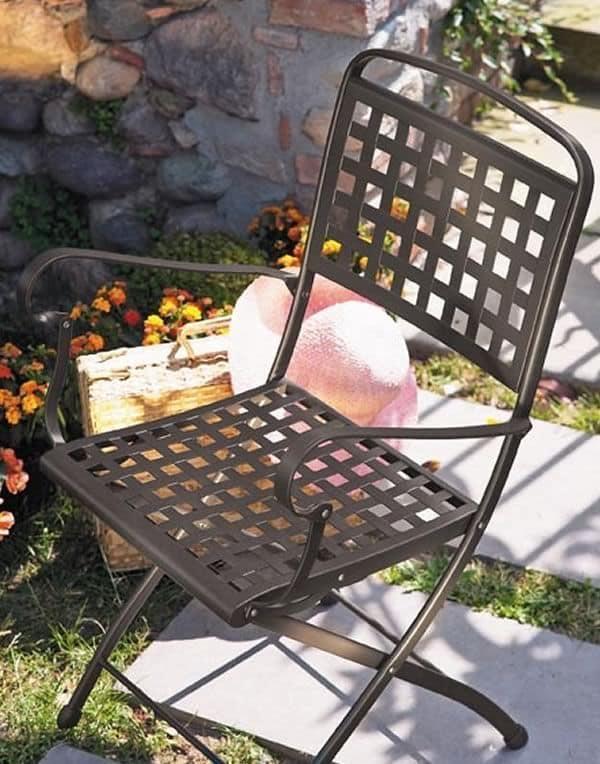 Isabella P, Sedia pieghevole in acciaio, per giardino
