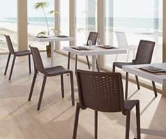 Kiranet-S, Sedia moderna in plastica, impilabile, per pizzeria