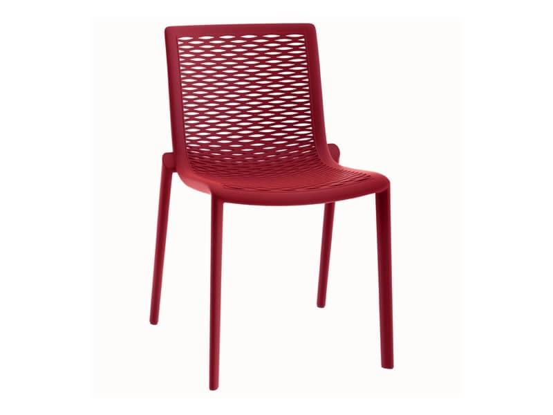 Sedia moderna in plastica impilabile per pizzeria idfdesign