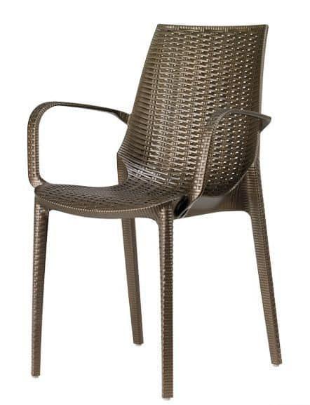 Sedia con braccioli in tecnopolimero impilabile per for Sedie giardino moderne
