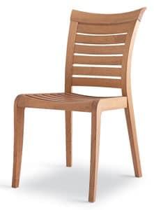 Mirage sedia, Sedia in legno con doghe orrizzontali, per esterno