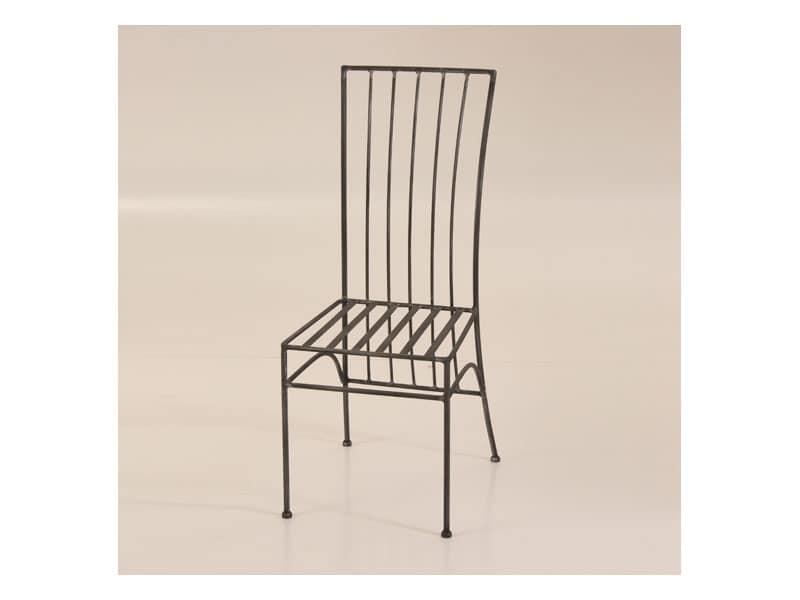 Sedie In Ferro Battuto Pieghevoli : Sedia in ferro battuto con schienale rettangolare per esterno