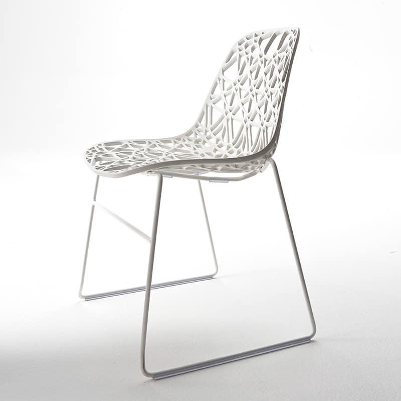 Sedia design da esterno in metallo scocca in plastica a rete idfdesign - Sedie plastica design ...