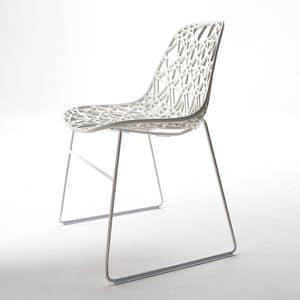 Nett R SB, Sedia design da esterno in metallo, scocca in plastica a rete