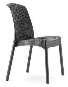 Olimpia Chair Trend, Sedia in tecnopolimero e alluminio, impilabile, anche per giardino