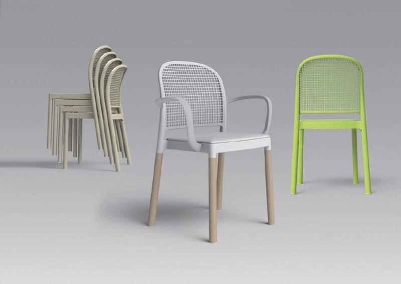 Sedia impilabile con scocca in metallo stampato in plastica