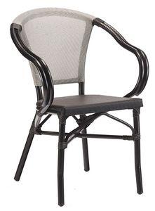 PL 422, Sedia per esterno impilabile, con braccioli curvati